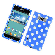 For LG Optimus Showtime HARD Protector Case Snap On Phone Cover Blue Polka Dots