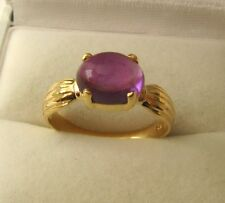 GENUINE 9K 9ct SOLID Gold 9X7 mm LARGE CABOCHON NATURAL AMETHYST DRESS RING