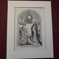 Antique Print The Duke of Bedford & St George from the Bedford Missal (1329)