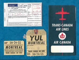 C1960 TRANS-CANADA AIR LINES AIR CANADA FOLDER + BAGGAGE LABEL, TICKET CARBON