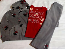 Gymboree Penguin Chalet Size 5 Fleece Pants Red Shirt 5-6 Hoodie Outfit NWT