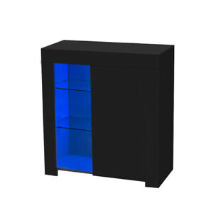 High Gloss Cabinet With LED Glass Side End Table Wood Storage Modern Sideboard