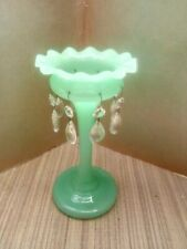 Green Glass Candle Holder with Glass Drops