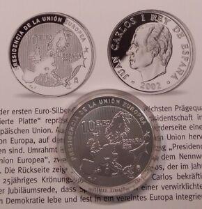 Spanien 10 Euro 2002 PP EU-Präsidentschaft + Zertifikat, 27g Ag 925er Silber (M2