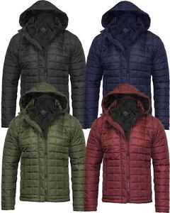 Mens Quilted Padded Hooded Double Zip Warm Puffer Coat Bubble Jacket 8 10 12 14