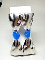 Silver Tone and Blue Dangle Drop Pierced Earrings Vintage Visage