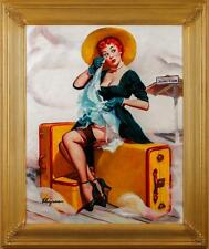 ELVGREN pinup WELCOME TRAVELER Original Painting TRAIN STATION Pin-Up Stockings