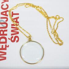 Decorative Monocle Necklace 5x Magnifier Magnifying Glass Pendant Golden Fashion