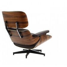eBB Eames Style Lounge Chair & Ottoman Italian Black Leather with Walnut Wood