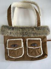Handbag Brown Suede Bath and Body Works Shearling Fur Trimmed Shoulder Tote Bag