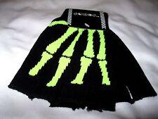 Black with Lime Green Skeleton Bone Fingerless Gloves-Skeleton Gloves Halloween