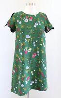 Ann Taylor Green Garden Floral Print Tie Short Sleeve Shift Dress Size 4P