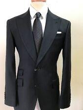 Black bespoke super 150 Cerruti wool suit with wide peak lapel-made in Italy