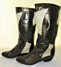 Baldinini Women's Multi-Texture Leather Cowboy Boots Gimmy, Size 39 1/2, Italy
