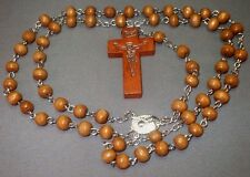 Rosary Necklace Wood Bead Silver Tone Chain Embossed Crucifix MED BROWN Classic