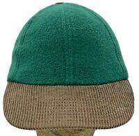 Vintage Solid Green Polar Fleece Corduroy Brim Low Crown Adjustable Hat Cap