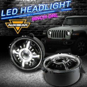 "Pair 12V 9"" Round LED Headlights DRL Hi-Lo Beam For Jeep Wrangler JL 2018 2019"