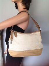 Fossil Bag Purse Canvas Beige Khaki Designer Fashion Hip Chic Stylish