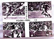 VINTAGE POLISH  POSTCARD  POLAND :1 PERU: 0 WORLDCUP FOOTBALL SOCCER 1978