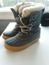 Vintage Sorel Manitou Winter Boots Blue Leather Womens 6
