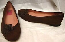 LILLY PULITZER NUBUCK LEATHER FLATS SHOES Sz 8 M *LEATHER FLOWER DETAILS*