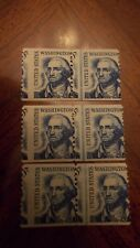 US Sc 1304 MNH. 3 1966-81 5c Washington coil line pair MISPERF ERROR