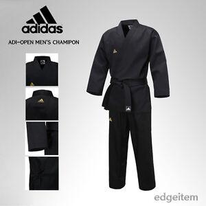 Adidas ADI-OPEN Dobok Men's Champion Uniform Black Taekwondo Hapkido Karate TKD