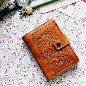 Kelimutu Women's Mandala Medium Wallet Ladies Purse Genuine Leather Light Brown