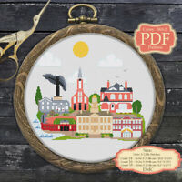 Iowa City Landscape - Skyline - Modern Cross stitch Embroidery PDF Pattern #188