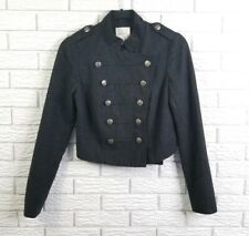 UO Silence Noise Cropped Double Breasted Military Jacket S Dark Gray Wool Blend