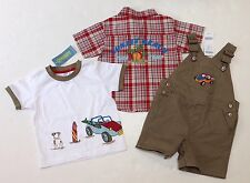 NWT Gymboree Surf Camp 12-18 Beach Buggy Tee Khaki Overall Shorts & Plaid Shirt