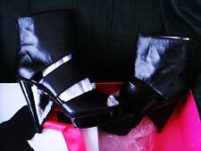"Paris Hilton Black 5"" Heel Shoes Womens 8.5 Open Peep Toe 1 1/8 Platform Bottie"