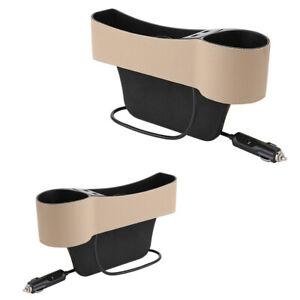 2PCS Car Seat Gap Catcher Organizer Storage Box Pocket w/ USB Cup Holder Beige