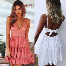 Sexy Womens Summer Beach Dress Casual Sleeveless Backless Short Mini Sundress