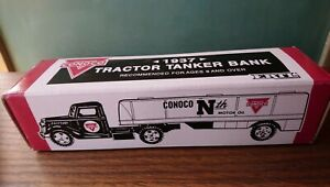 New ERTL 1937 TRACTOR/TANKER LOCKING COIN BANK TOY TRUCK CONOCO ADVERTISING