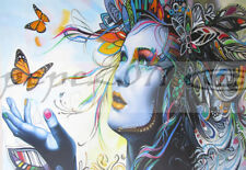 200cm x 100cm CANVAS PRINT - URBAN PRINCESS  butterfly GRAFFITI STREET ART