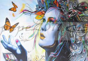 "78"" CANVAS PRINT  painting URBAN PRINCESS  butterfly GRAFFITI STREET ART"