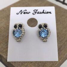 Owl Crystal Titanium Post Stud Earrings US Seller Made in Korea