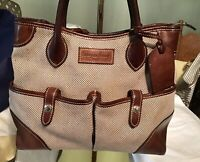 Dooney Bourke BROWN Satchel Tote Florentine Vachetta Leather Tweed Fabric Pocket
