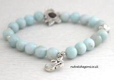Green Aventurine Power Beads OM LOTUS Charm Healing Chakra Bracelet Gemstone New