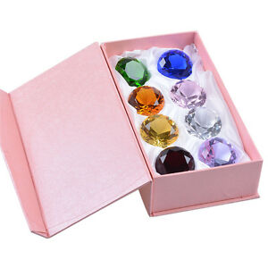 LONGWIN Set 8pcs Colorful Crystal Paperweight Diamond Shaped 50mm Wedding Gift