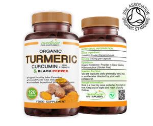 Turmeric and Black Pepper High Strength 120 Capsules Organic with Curcumin