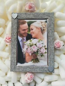 Grey / Silver Photo Picture Frame Silver Love Heart Wedding, Anniversary Gift..