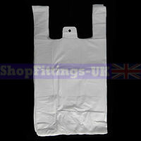 """400x White Plastic Vest Carrier Bags For Stalls shopping/Retail Bags 11""""x17""""x21"""""""