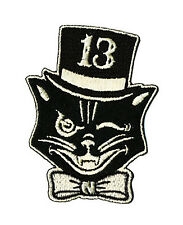 Lucky 13 patch badge Black Cat Mr Katz top hat rockabilly tattoo iron on