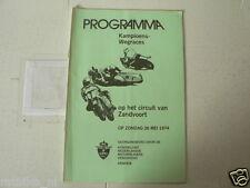 1974 ZANDVOORT KAMPIOENS WEGRACES 26 MEI PROGRAMMA BRUINS,KIP,DALEMAN,TIMMER,POS