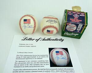 President George W Bush Signed 2001 World Series Flag Baseball PSA/DNA COA