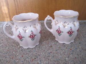 2 CZECHOSLOVAKIAN  ORIGINAL CARLSBAD? PINK PORCELAIN TEA CUPS