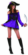 Halloween Sexy Pirate Costume Ladies Short Fancy Dress Outfit & Hat 12-14 NEW