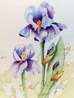 Purple Irises Original Watercolor Painting